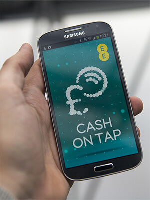 Cash On Tap by EE screen on smartphone