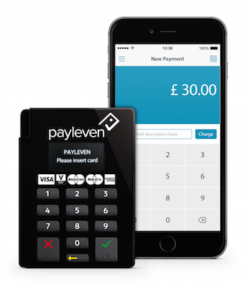Payleven chip card reader next to iPhone