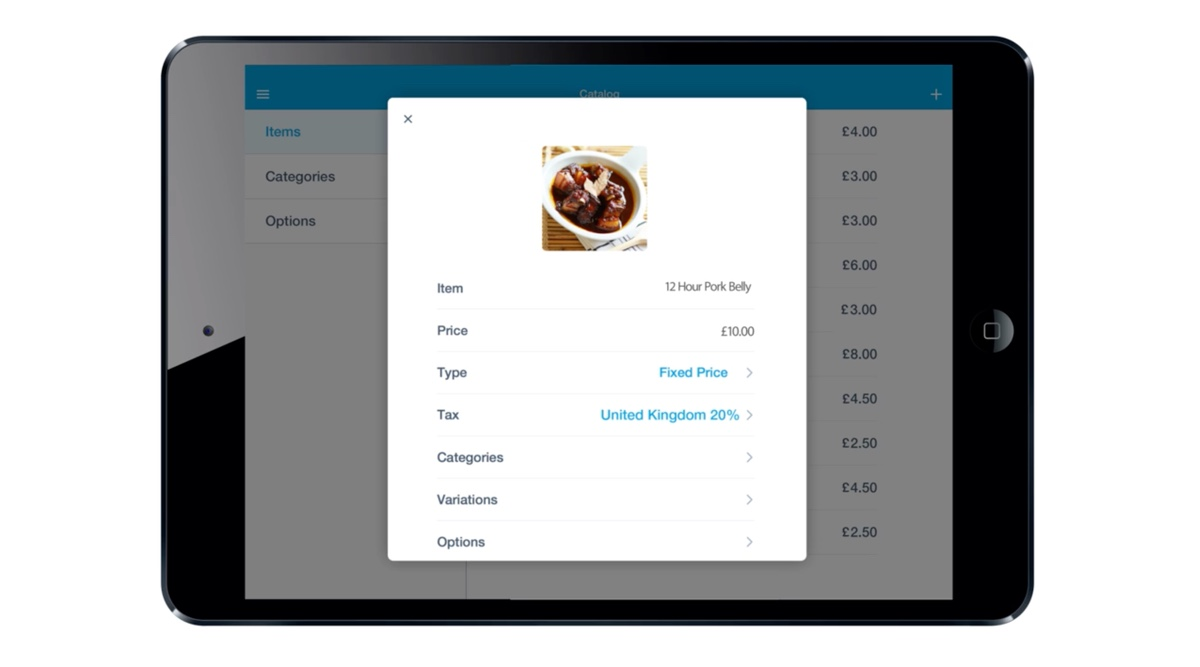 PayPal Here app product list