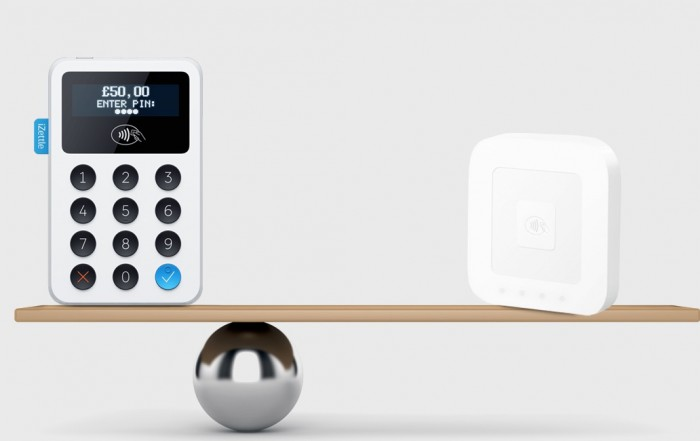 Square and iZettle card reader on balancing board